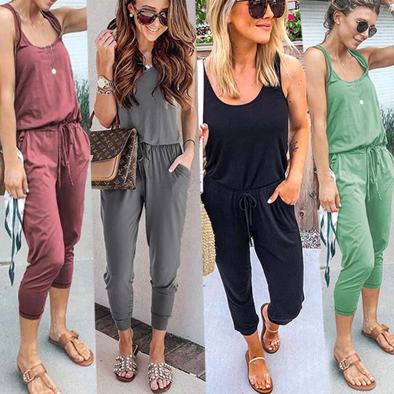 Sexy Sleeveless Jumpsuit Women Long Romper Summer Women Black Bodysuit Trousers Beach Jumpsuit Coveralls Playsuit Female Frock