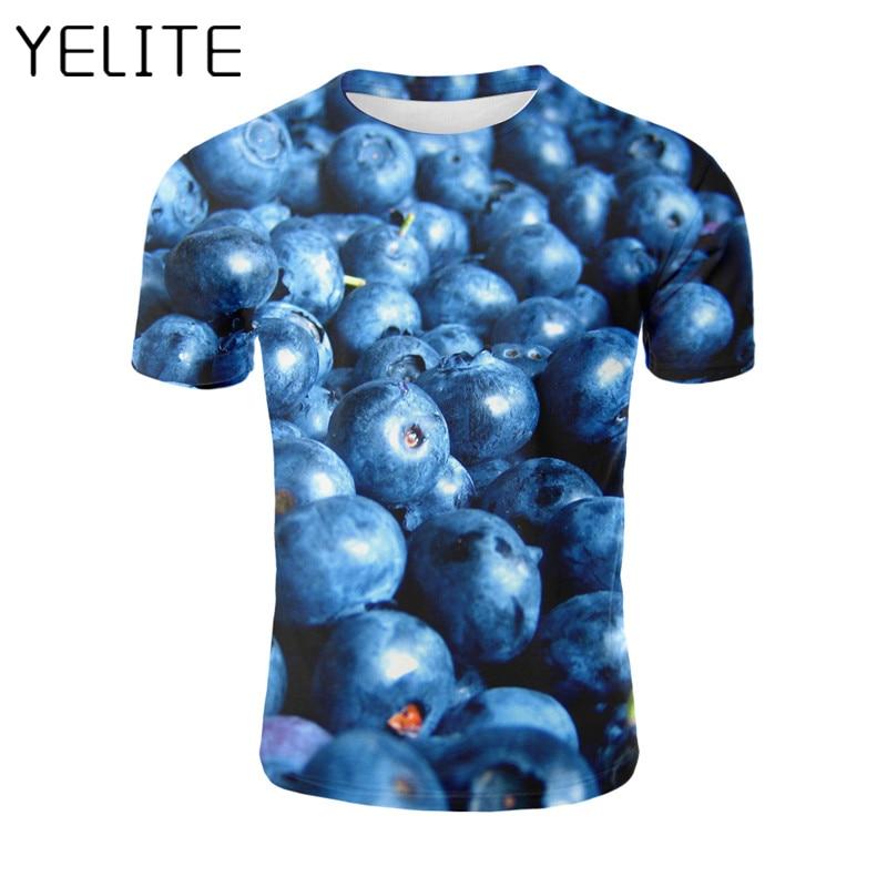 YELITE Funny 3D Print Fruit Blueberry T-shirt Fresh T Shirt Men Hip Hop Streetwear Tshirt Hipster Clothes Harajuku