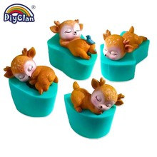 Купить с кэшбэком Sika Deer Model Silicone Mold For Candle Soap Making Animal Series Fondant Cake Mold Clay Cement Chocolate Decoration Tools