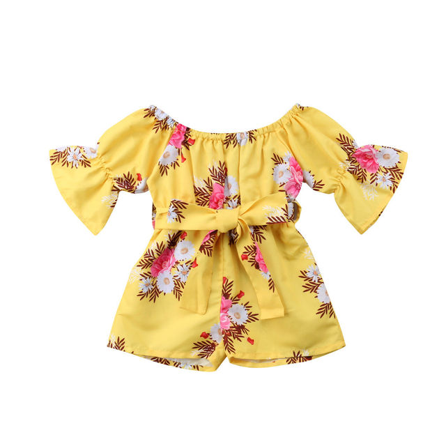 1f7d4fd18b76 2018 Newly Summer Infant Kids Baby Girls Romper Clothes Flowers Print Short  Sleeve Sashes Yellow Jumpsuits Romper