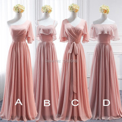 YNQNFS Real Pictures Bridesmaid Dresses Elegant One Shoulder Long Dress Party Gown Peach Pink Custom Made 2018 2019 BD1