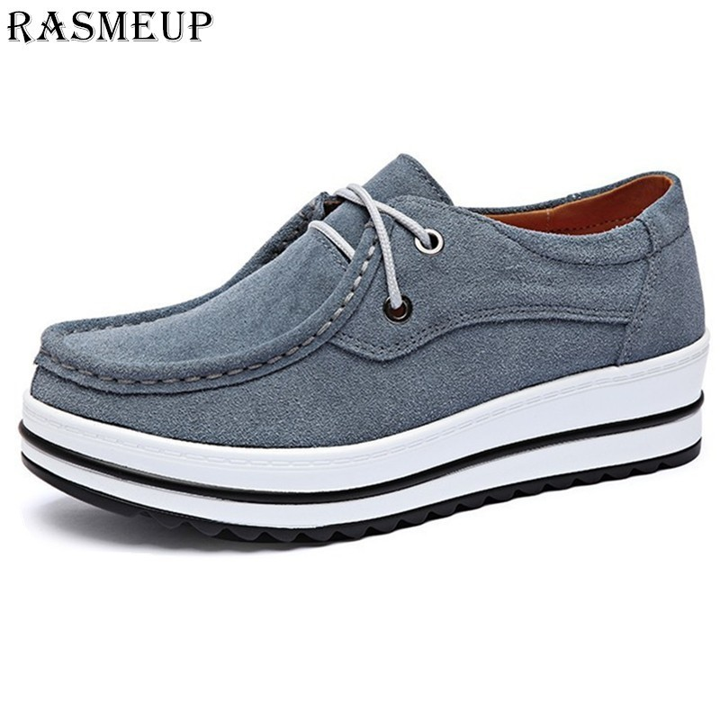 RASMEUP Suede Leather Women's Platform Sneakers 2018 Autumn Women Lace Up Flats Lady Flat Shoes Woman Casual Creepers Moccasins rasmeup genuine suede leather women s oxford shoes 2018 spring women lace up flat sneakers woman boat flats moccasins shoes