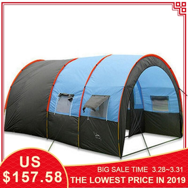 eed6054ab5 Large Camping Tent Waterproof Canvas Fiberglass 8 10 Person Tunnel Tent  Outdoor Party Family Tents Outdoor Camping Picnic