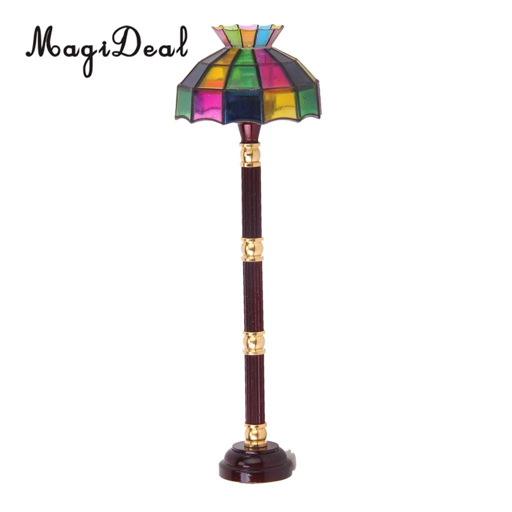 Us 11 59 27 Off Dollhouse Working Floor Lamp Colored Shade Lighting Battery Ed Vintage Miniature Led Desk Model Furniture Decor Acc In