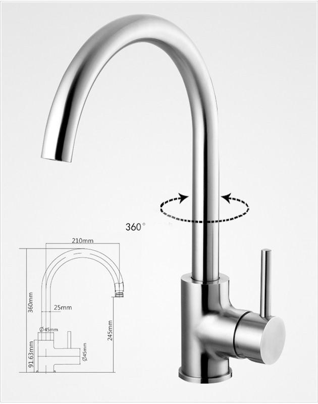 Brass Sink Swivel Pipe Chrome Kitchen Faucet Handles Hot Cold