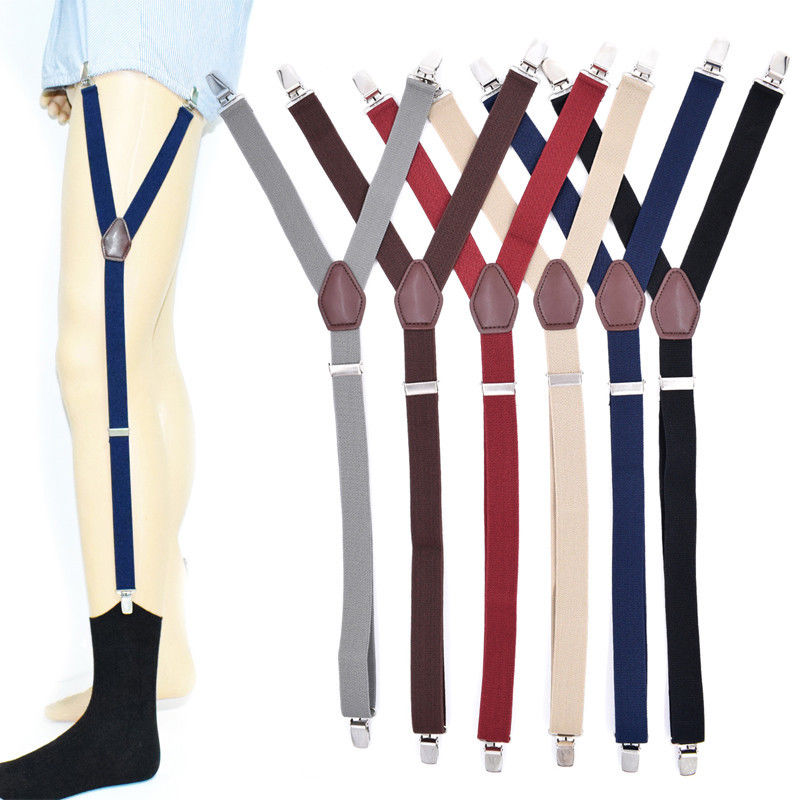 Men's Suspenders 1 Pair Fashion Elastic Adjustable Legs Belts Suspenders For Men Shirt Stays Suspenders Mens Clothes Accessories
