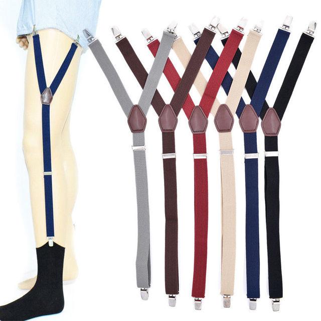 3d3f87f22 1 Pair Men s Shirt Stays Holders Elastic Garter Belt Suspender Locking  Clamps Black Gray Coffee
