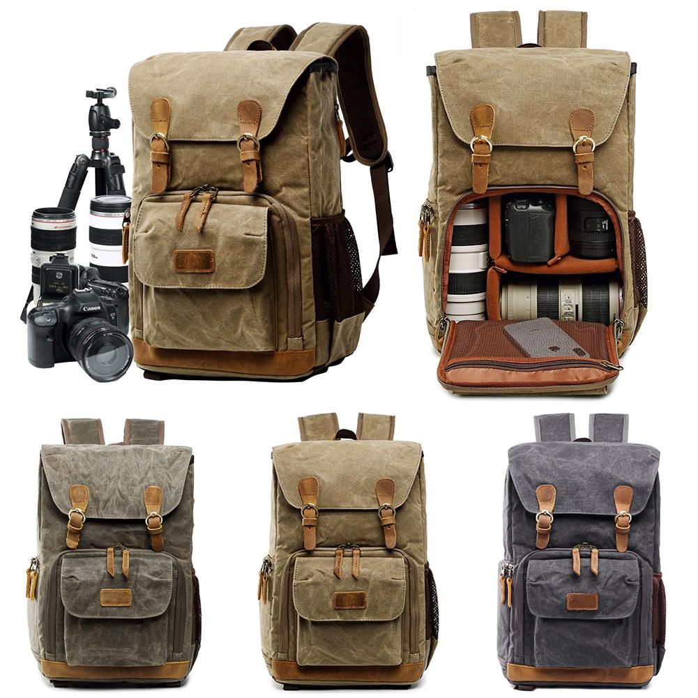 banabanma Unisex Canvas Waterproof Photography Outdoor Wear resistant Large Camera Backpack