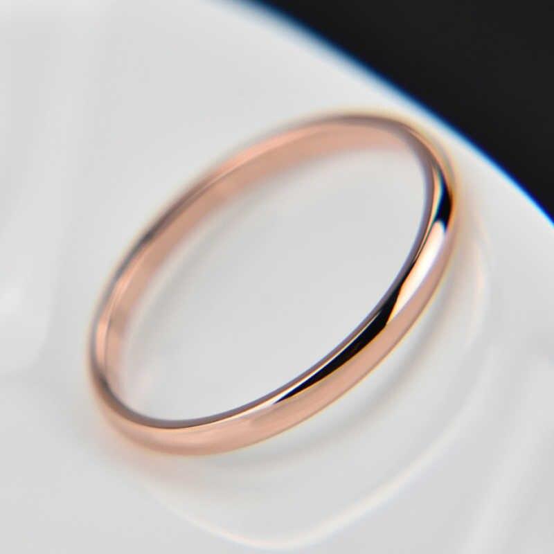 1PC 뜨거운 간단한 남여 2mm 여자 남자 기념일 솔리드 커플 반지 웨딩 합금 부드러운 패션 쥬얼리 선물