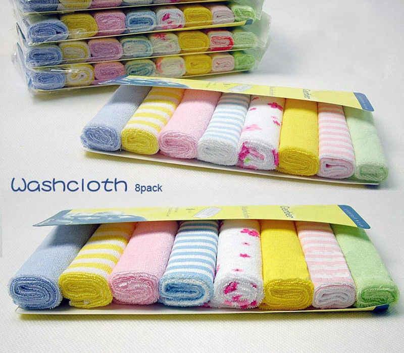 8 stuks Zachte Katoenen Baby Pasgeboren Badhanddoek Washandje Baden Feeding Veeg Doek Zachte Baby Kids Care Bad & douche Handdoek