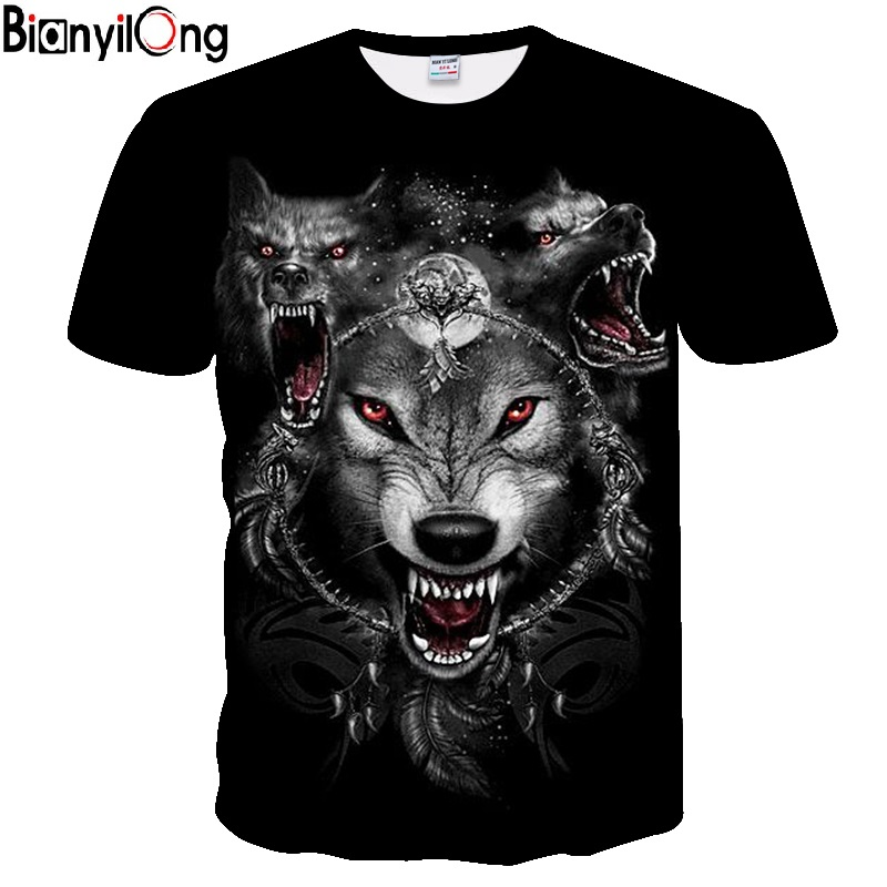 3D Printing Wolf T-shirt Men's Personalized T-shirt 2019 New Summer Short-sleeved O-neck Hip-hop Top And T-shirt Drop Boat