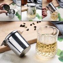 Infusers-Basket Tea-Strainer-Lid Stainless-Steel COFFEE-FILTERS Mesh 2-Handles Reusable