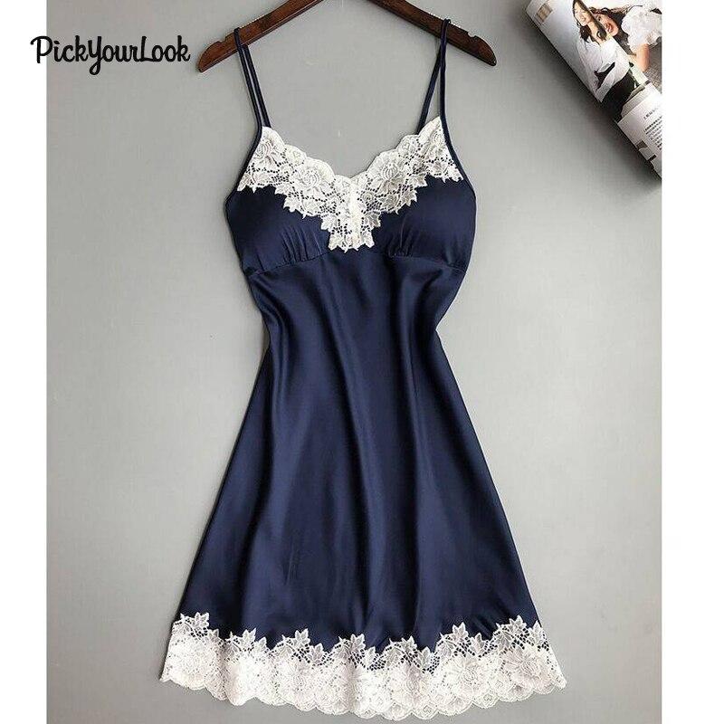 PickyourLook Ladies Sexy Nightdress Silk   Nightgowns     Sleepshirts   Lingerie Nightwear Babydoll Women Sleepwear Lingerie Homewear