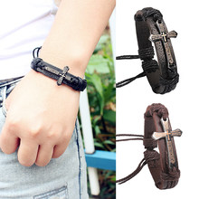 2018 New Arrival Allergy Free Wedding Leather Bracelet Adjustable High Quality 1PC Metal Cross Jesus Wax Cord Brown Black Unique(China)