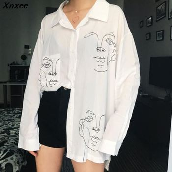 Women's Tops and Blouses Cotton White Shirt Line Face Print Retro Shirts with Long Sleeve White Blouse Lady Spring Summer Xnxee women s tops and blouses cotton white shirt line face print retro shirts with long sleeve white blouse lady spring summer xnxee