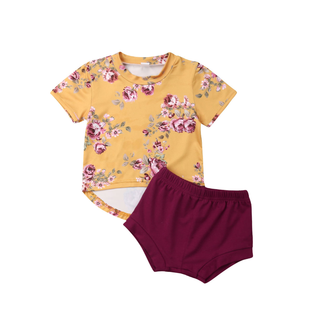 0-24 M Nette Neugeborene Baby Mädchen Kurzarm Floral T-shirt Tops Wein Rot Shorts Hose 2 Pcs Outfits Sommer Kleidung