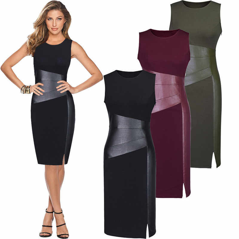 Fashion Casual Slim Solid Patchwork Vrouwen Bandage Bodycon Mouwloze Party Slim Tuniek Potlood Side Slit Mini Jurk