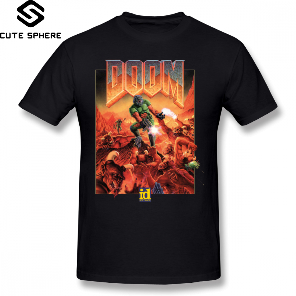 Wolfenstein   T     Shirt   DOOM CLASSIC COVER   T  -  Shirt   Short Sleeves Male Tee   Shirt   Classic Printed 100 Percent Cotton Fun 5x Tshirt