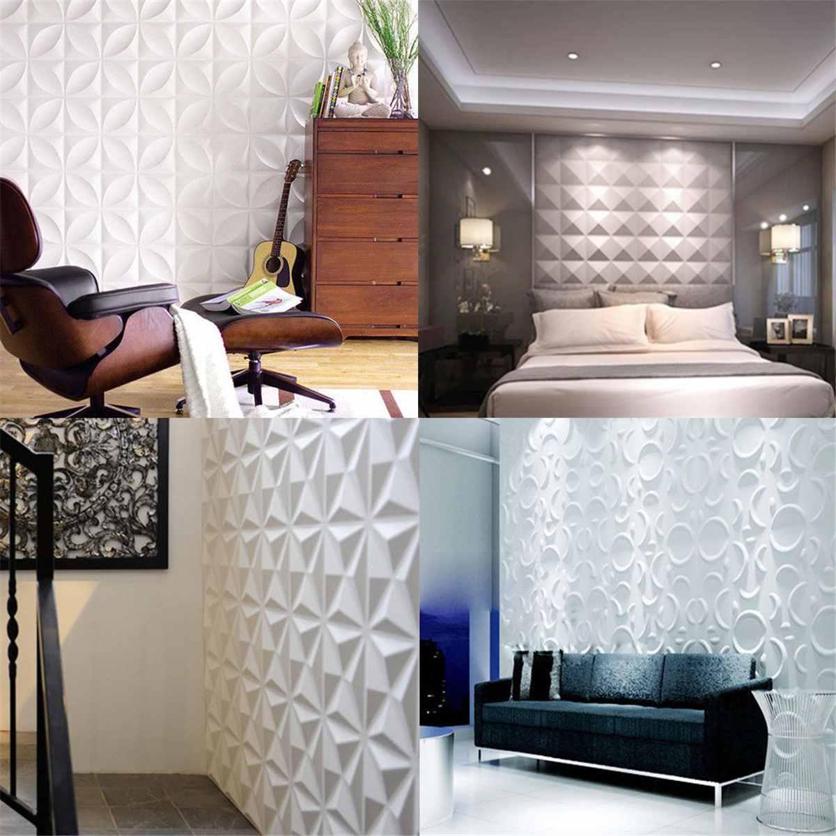 12Pcs/Set 3D Wall Panel Ceiling Tiles Wallpaper Geometric Art Stickers TV Background Home Living Room Decoration Wall Treatment