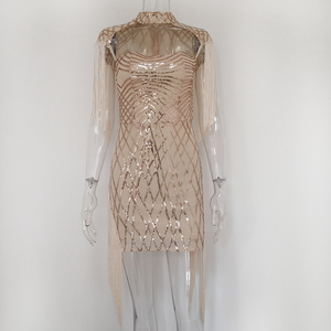 Image 4 - Karlofea New Tassel Cloak Sleeve Party Dress Sexy Hollow Out Sequin Bodycon Mini Dress Gold Club Birthday Fringe Women Dresses