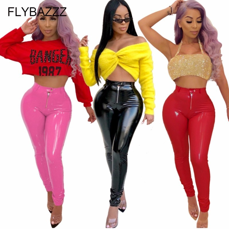 New Thicken Flash Pu Leather Pants Women Plus Size Slim Trousers Push Up High Waist Black Sexy Skinny Pants Female Running Pants in Running Pants from Sports Entertainment