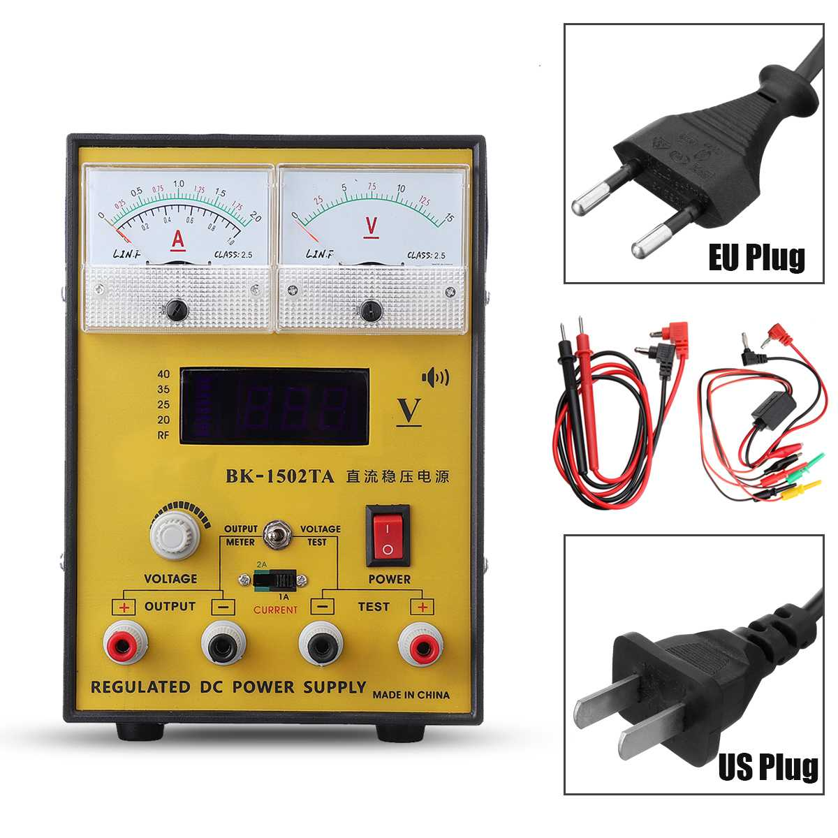 110V/220V 15V 2A Portable Digital LED DC Power Supply Adjustable Regulator EU Plug/US Plug Power Supply110V/220V 15V 2A Portable Digital LED DC Power Supply Adjustable Regulator EU Plug/US Plug Power Supply