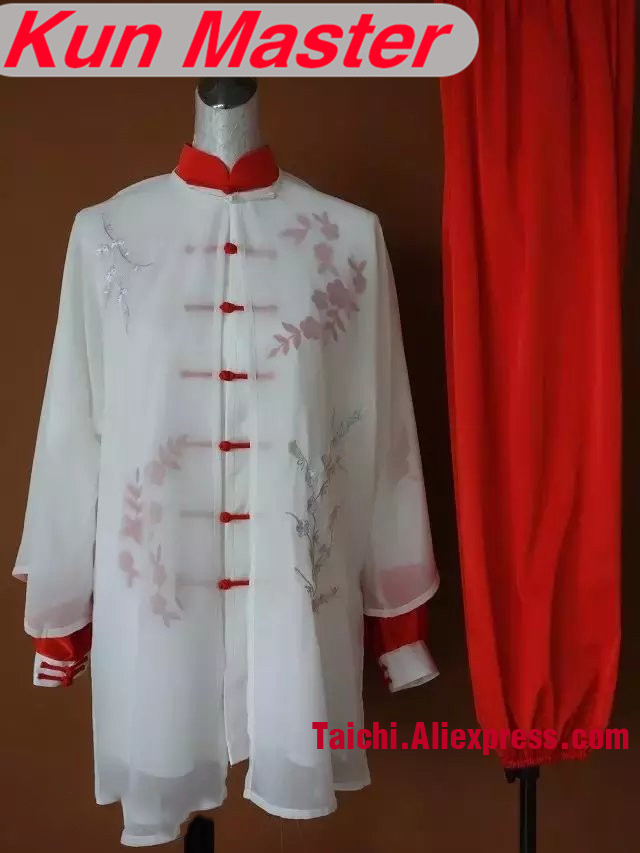 Custom Tai Chi Performance Uniform Embroidery  Martial Art Kung Fu Clothing Three Pieces White Top Red Pants