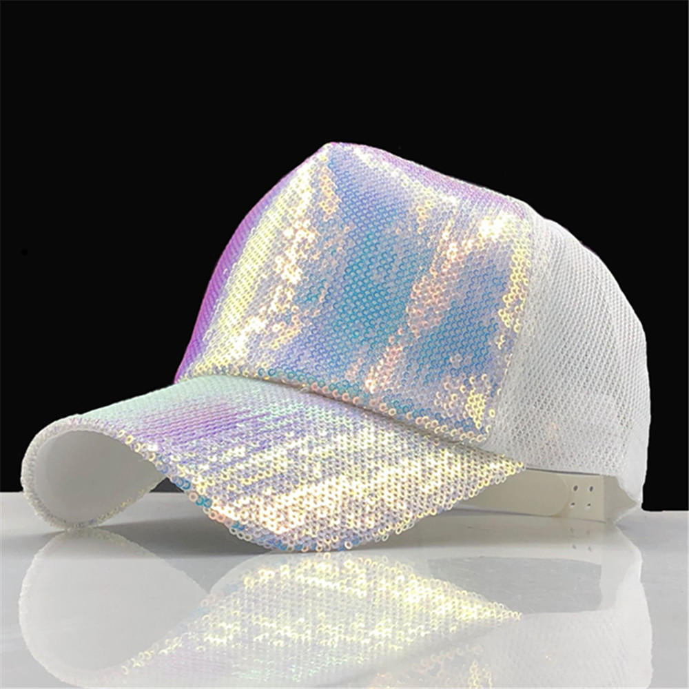 Hats Baseball-Cap Rainbow Paillette Sequins Women Adjustable for Party Club Bling Striking