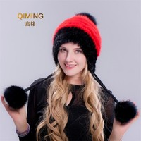 Woman Thickening Lovely Mink Hat Fox Hair Fur Earmuffs Keep Warm Fur Hats Winter Women Cap Pom Pom Beanie Beanies For Ladies