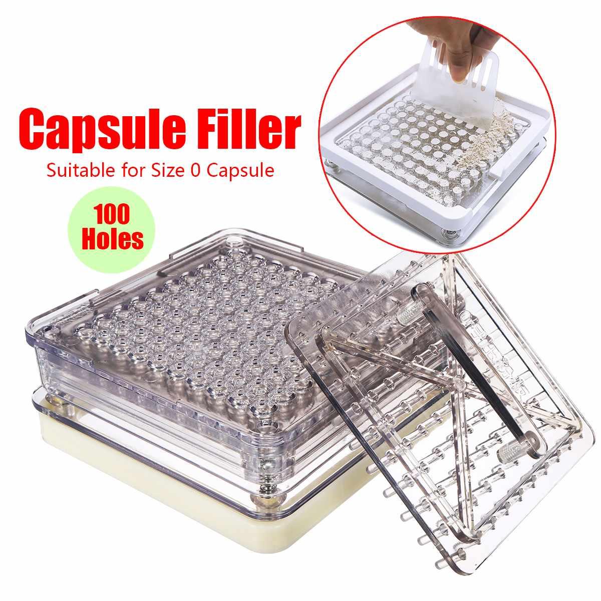 100 Holes Capsule Filler Maker Size 0 Capsule Filling Manual Machine Flate Tool Food Grade Material with Powder Block Plate