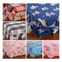 180x200CM Printed Flower Bedcover Cubrecama Bedspread Bedclothes Sanded Plant Cashmere Bedspread Sheets Bed Skirt
