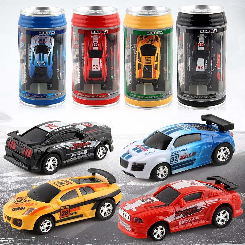 1pc Creative Coke Can Mini Car Plastic Shell Micro Racing Car Remote Control Multi-color Children Toys Portable