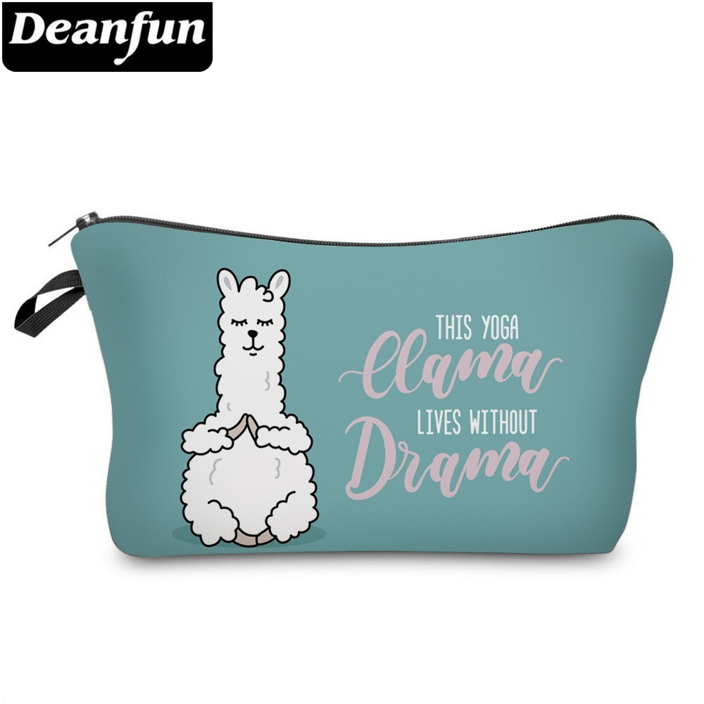 Deanfun Cute Yoga Llama Cosmetic Bag Waterproof Makeup Bags Lovely Cosmetics Pouchs Women For Travel  51433