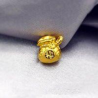 New Solid 24K Yellow Gold Pendant Smart Lucky Bag Pendant 10mm 1PCS