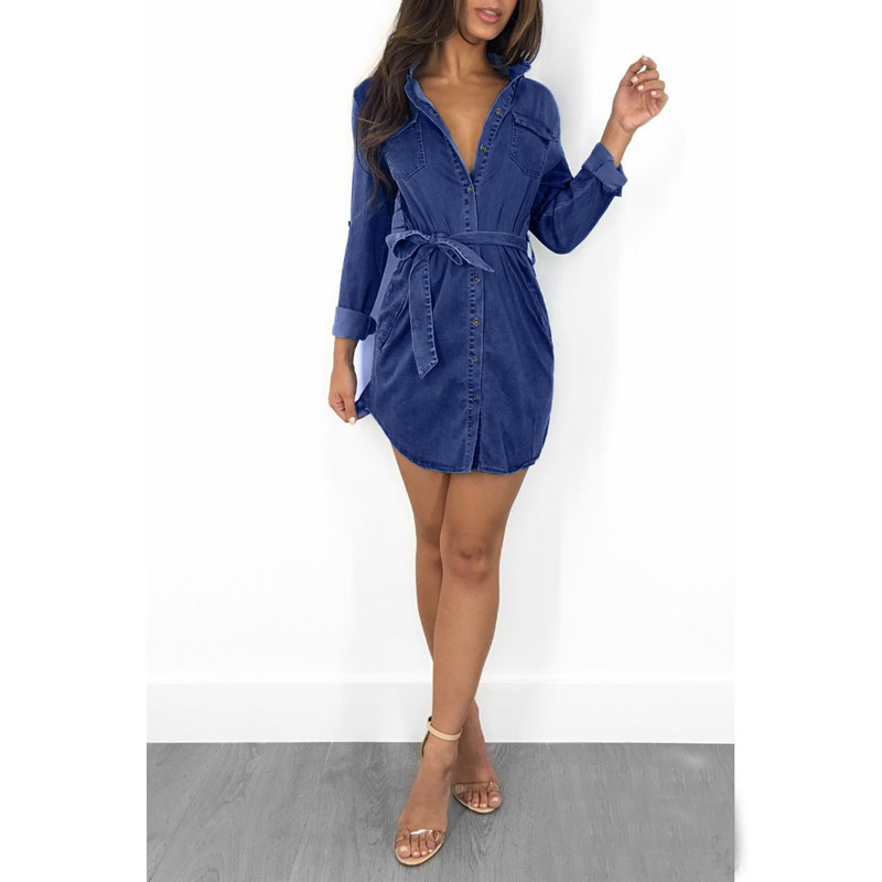 Womens Denim Shirt <font><b>Dress</b></font> Ladies <font><b>Jean</b></font> <font><b>Dresses</b></font> Blue Slim <font><b>Sexy</b></font> Summer <font><b>Dress</b></font> image