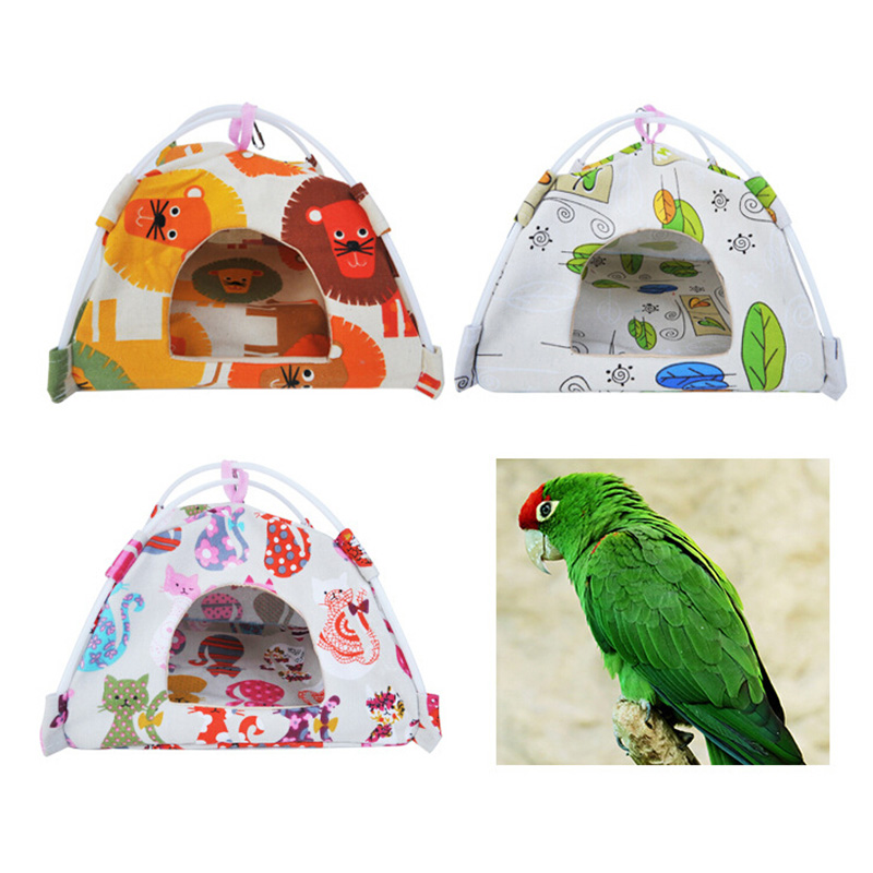 S/m/l Size Cartoon Bird Parrot Tent House Canvas Fabric Bird House Bed Cave Cage Hammock Mini Animal Parrot Pet Supplies 1pc Meticulous Dyeing Processes Bird Supplies Pet Products