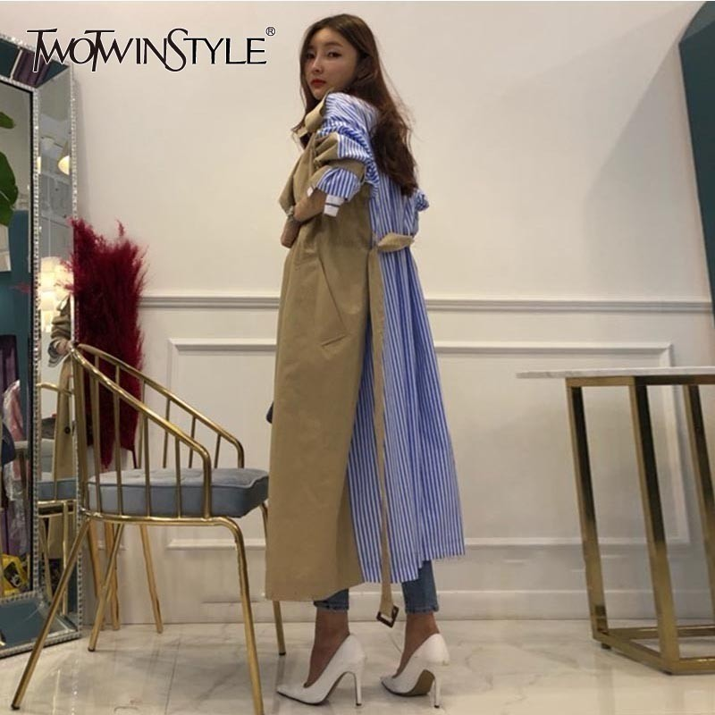 GALCAUR Striped Patchwork Windbreaker For Women Long Sleeve Lace Up Trench Coat Female Korean Fashion 2020 Autumn Oversized