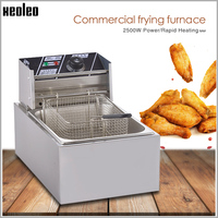 XEOLEO 6L Electric Deep Fryer 2500W Commercial Fryer French fries maker Chicken Frying machine 220V 200 degree adjustable
