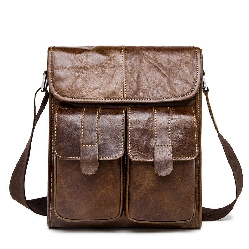 crazy horse Genuine Leather Men bags Fashion Brand Designer Handbag Shoulder business Retro Cow Bag Men