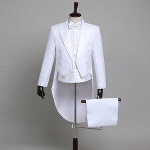 Image 5 - Мужской классический смокинг, черный блестящий пиджак с лацканами и хвостом, свадебный смокинг, сценический певец, костюм из 2 предметов, пиджак с хвостом