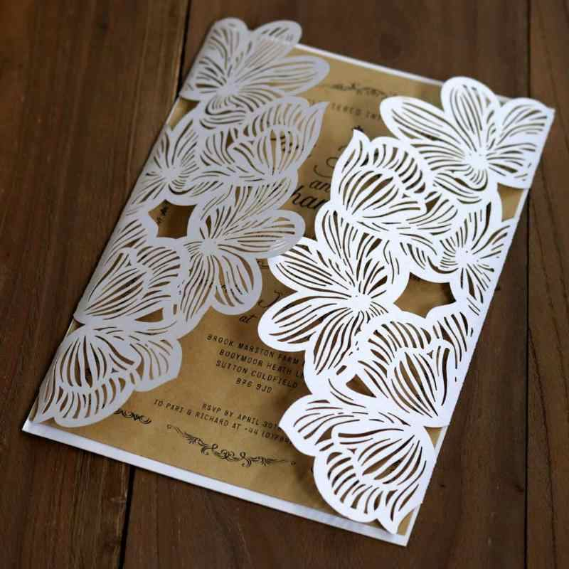 10pcs Hollow Laser Greeting Cards Tool Cut Wedding Party Invitations Kits Elegant Party Wedding Birthday Supplies Congratulation