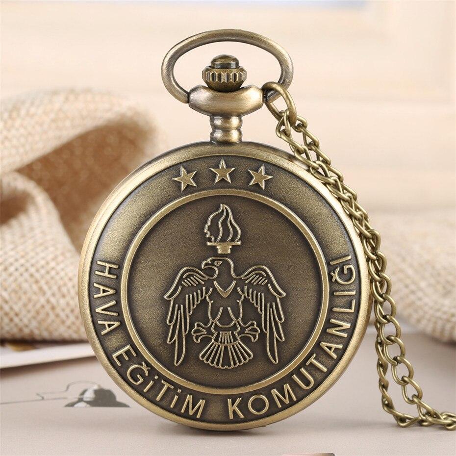Retro Bronze Turkish Air Force Theme Quartz Pocket Watch Vintage Necklace Chain Souvenir Pendant Clock For Men Women Reloj