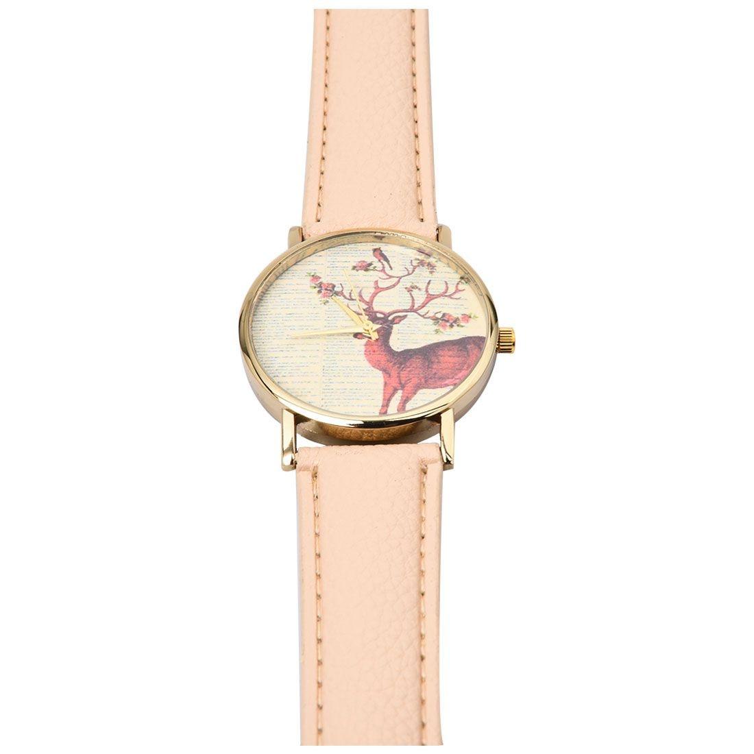 neutral Plum flower Deer Leather belt Quartz watch 4