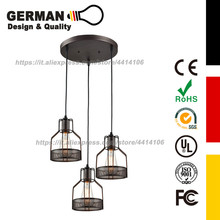 цена на Rustic Black Metal Cage Shade Dining Room Pendant Light with 3 E27 Bulb Sockets 120W Painted Finish