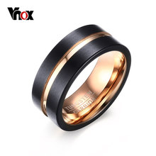 Vnox 8mm Width Men Rings 100% Tungsten Metal Black & Gold-color Ring(China)