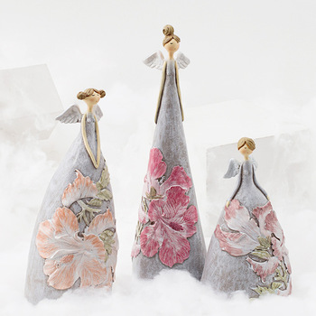 Angel Decoration Flower Resin Figurines Fairy Ornaments Statue