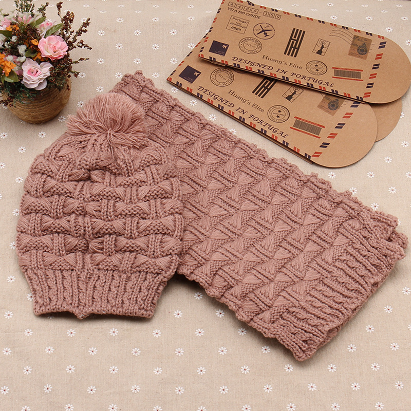 2018 Women Scarf And Hat Set Knitted Girls Thicken Knitting Collars Skull Caps Beanie Ball Hats Christmas Gifts