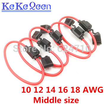 Soporte de fusibles para coche, resistente al agua, automotriz con cubierta en línea, 10, 12, 14, 16, 18 AWG, 5 unids/lote 1