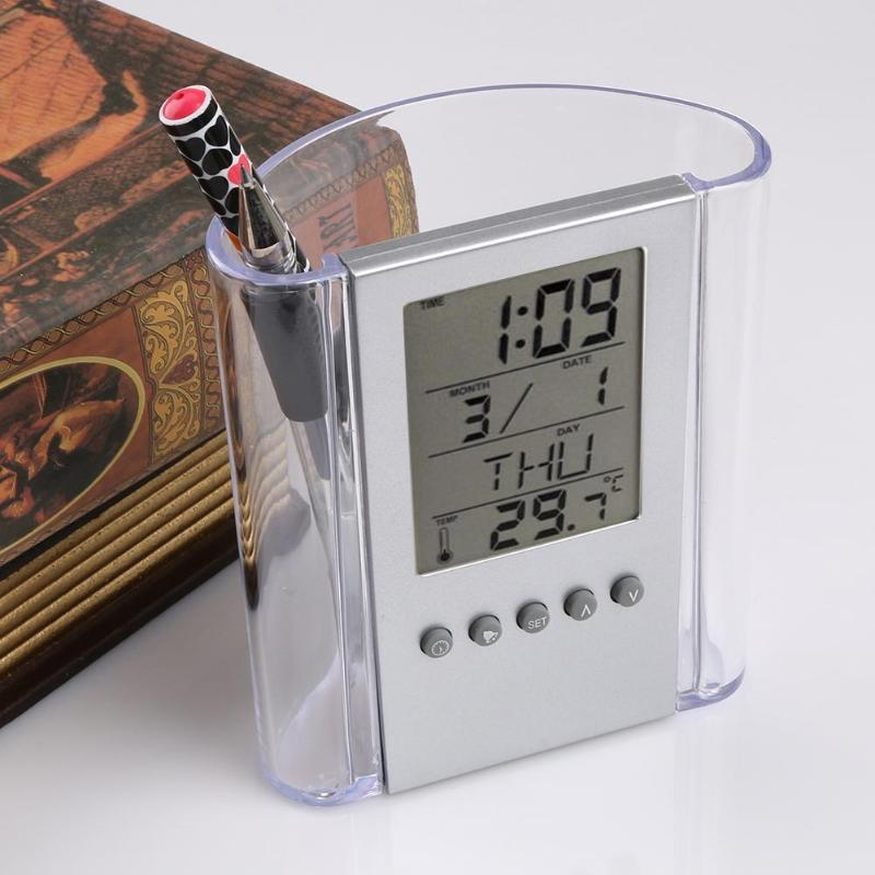 Transparent Alarm Cock Pen Holder Pencil Container LCD Digital Electronic Thermometer Calendar Desk Organizer Office AccessoriesTransparent Alarm Cock Pen Holder Pencil Container LCD Digital Electronic Thermometer Calendar Desk Organizer Office Accessories