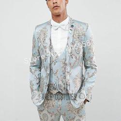 Vestido de boda Formal trajes de hombre 3 piezas 2019 diseño italiano Floral novio esmoquin para hombres graduación Slim Fit hombres boda fiesta trajes